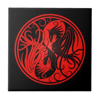 Red and Black Yin Yang Phoenix Ceramic Tile