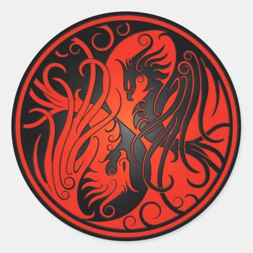 Red and Black Yin Yang Phoenix Classic Round Sticker