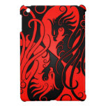 Red and Black Yin Yang Phoenix iPad Mini Covers