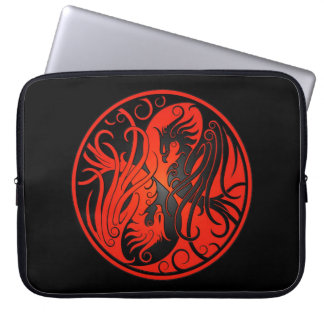 Red and Black Yin Yang Phoenix Laptop Sleeve