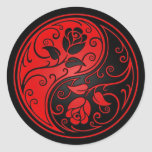 Red and Black Yin Yang Roses Classic Round Sticker