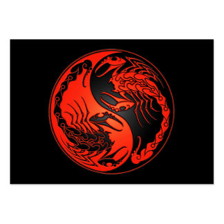 Red and Black Yin Yang Scorpions Large Business Card