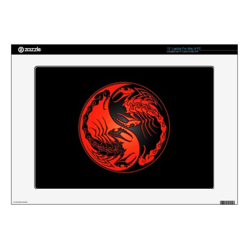 Red and Black Yin Yang Scorpions Skins For Laptops