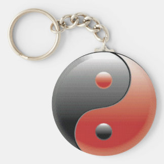 Red and black Yin Yang symbol Keychain