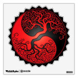 Red and Black Yin Yang Tree Wall Decal