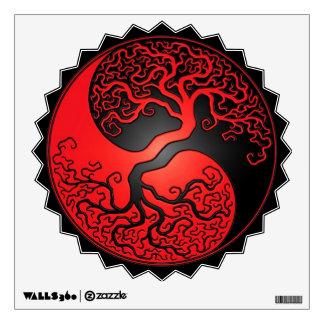 Red and Black Yin Yang Tree Wall Sticker