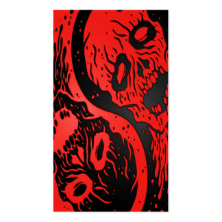 Red and Black Yin Yang Zombies Business Card Templates
