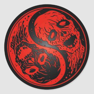 Red and Black Yin Yang Zombies Classic Round Sticker