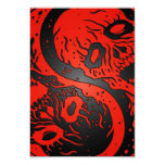 Red and Black Yin Yang Zombies Personalized Announcements