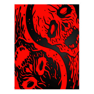 Red and Black Yin Yang Zombies Postcard