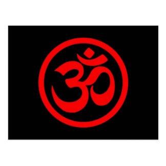 Red and Black Yoga Om Circle Postcard