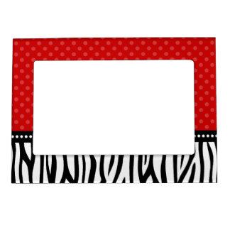 Red and Black Zebra Polka Dot Magnetic Photo Frame