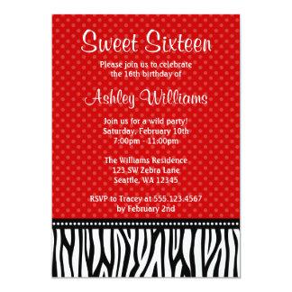 Red and Black Zebra Polka Dot Sweet 16 5x7 Paper Invitation Card