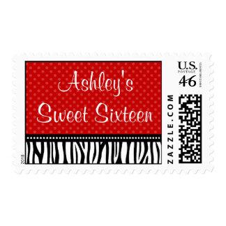 Red and Black Zebra Polka Dot Sweet 16 Birthday Stamp