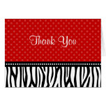 Red and Black Zebra Polka Dot Thank You Stationery Note Card