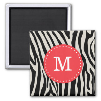 Red and Black Zebra Stripe Monogram Magnet