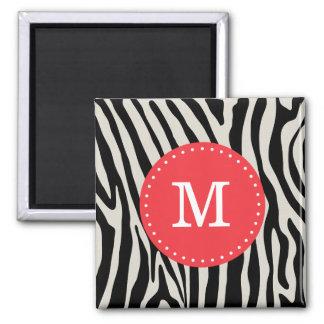 Red and Black Zebra Stripe Monogram 2 Inch Square Magnet