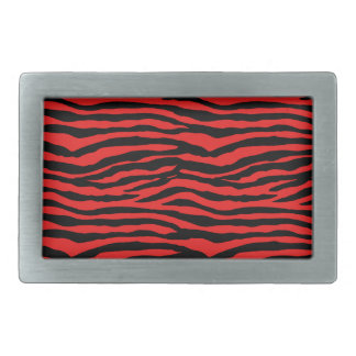 Red and Black Zebra Stripes Rectangular Belt Buckles