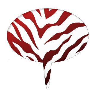 Red and Black Zebra Stripes Cake Topper