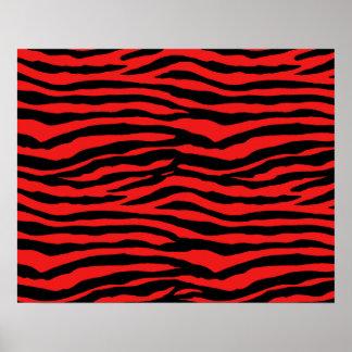Red and Black Zebra Stripes Poster