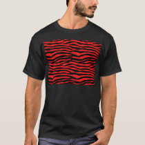 Red and Black Zebra Stripes T-Shirt