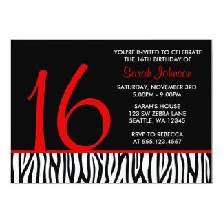 Red and Black Zebra Sweet 16 Number Birthday Card