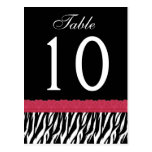 Red and Black Zebra Table Number ver 10 Postcard