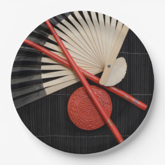 Red and Black Zen Paper Plate