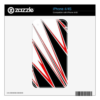Red and Black zig-zag Design from AOM Skin For iPhone 4S