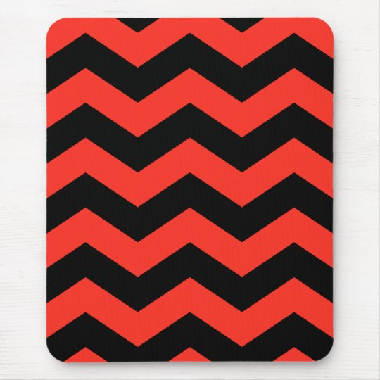 Red and Black Zig Zag Pattern Mouse Pad