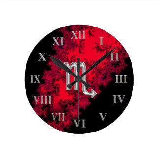 Red and Black Zodiac Sign Scorpio Round Clock