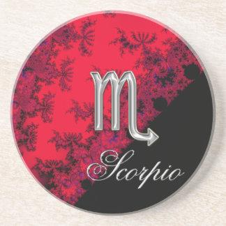 Red and Black Zodiac Sign Scorpio Sandstone Coaster