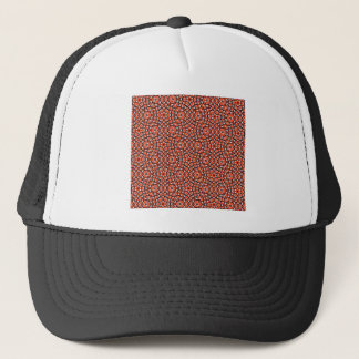 red and blackholiday print flower trucker hat