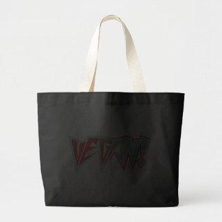 Red and Blue 1980s Rocker Vegan Canvas Bag