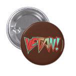 Red and Blue 1980s Rocker Vegan Pinback Button