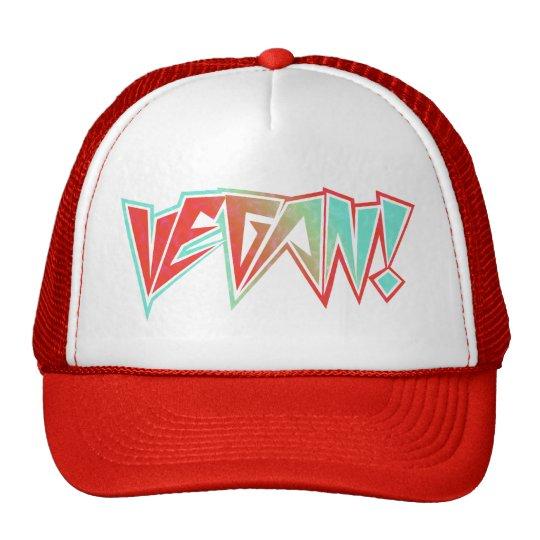 Red and Blue 1980s Rocker Vegan Trucker Hat