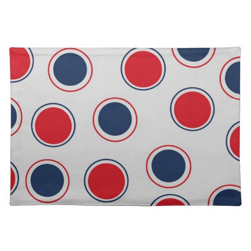 Red and Blue Abstract Circles on Gray Cloth Placemat