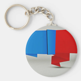 Red and Blue Abstract design Basic Round Button Keychain