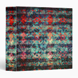 Red and Blue Abstract Floral Grunge Striped 3 Ring Binders