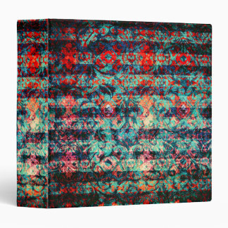 Red and Blue Abstract Floral Grunge Striped Binder