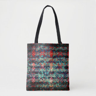 Red and Blue Abstract Floral Grunge Striped Tote Bag