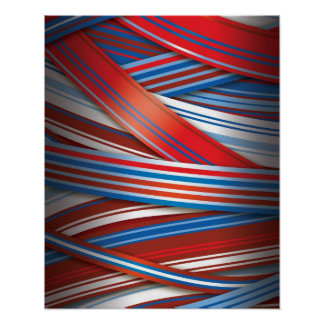 Red and Blue abstract stripes Poster
