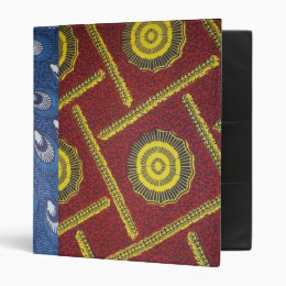Red and Blue AFrican Print  Avery Binder