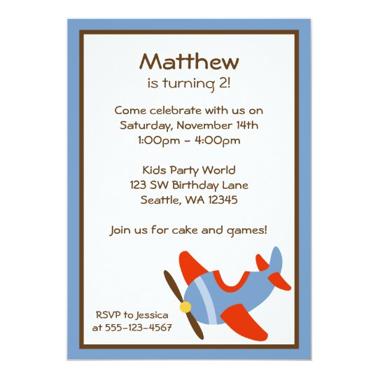 Red and Blue Airplane Birthday Party Invitations