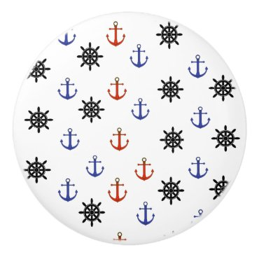 Beach Themed Red and Blue Anchor Nautical Themed Cabinet Knob