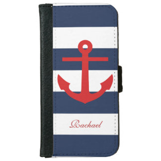 Red and Blue Anchors Aweigh iPhone 6 Wallet Case
