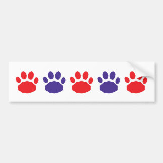 Red and Blue Animal Paw Prints Bumper Sticker