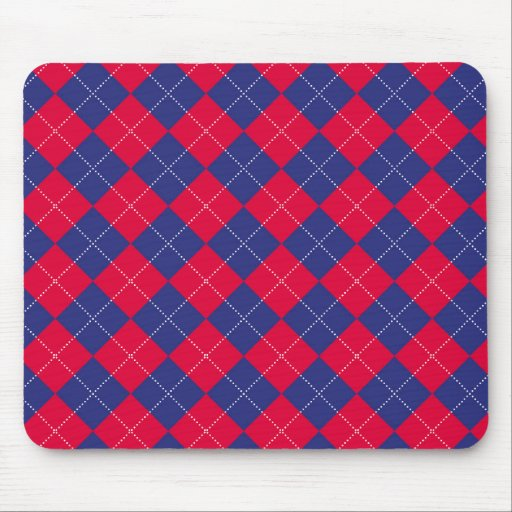 Red and Blue Argyle Mouse Pad