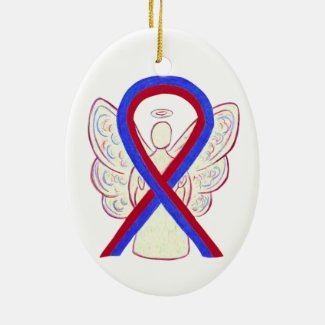 Red and Blue Awareness Ribbon Angel Ornament