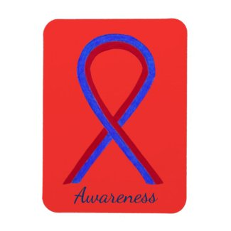 Red and Blue Awareness Ribbon Custom Magnet